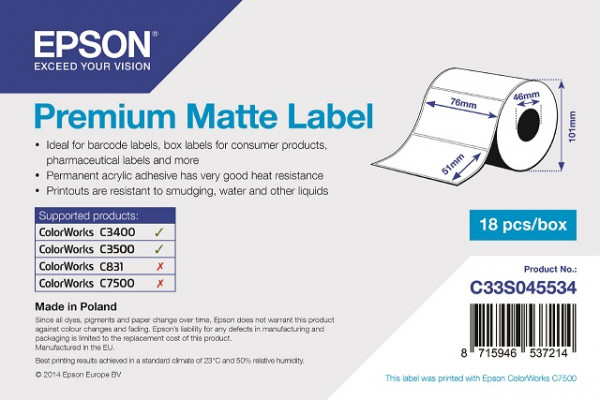 Epson 76x51mm Papier matt, 650 Et/R