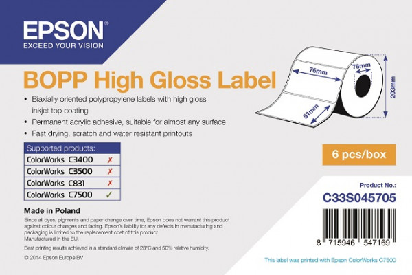 Epson 76x51mm BOPP glanz, 2770 Et/R