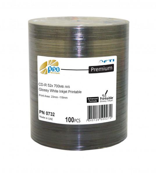 CD-R FTI 'PREMIUM' 700MB, weiss Inkjet glossy